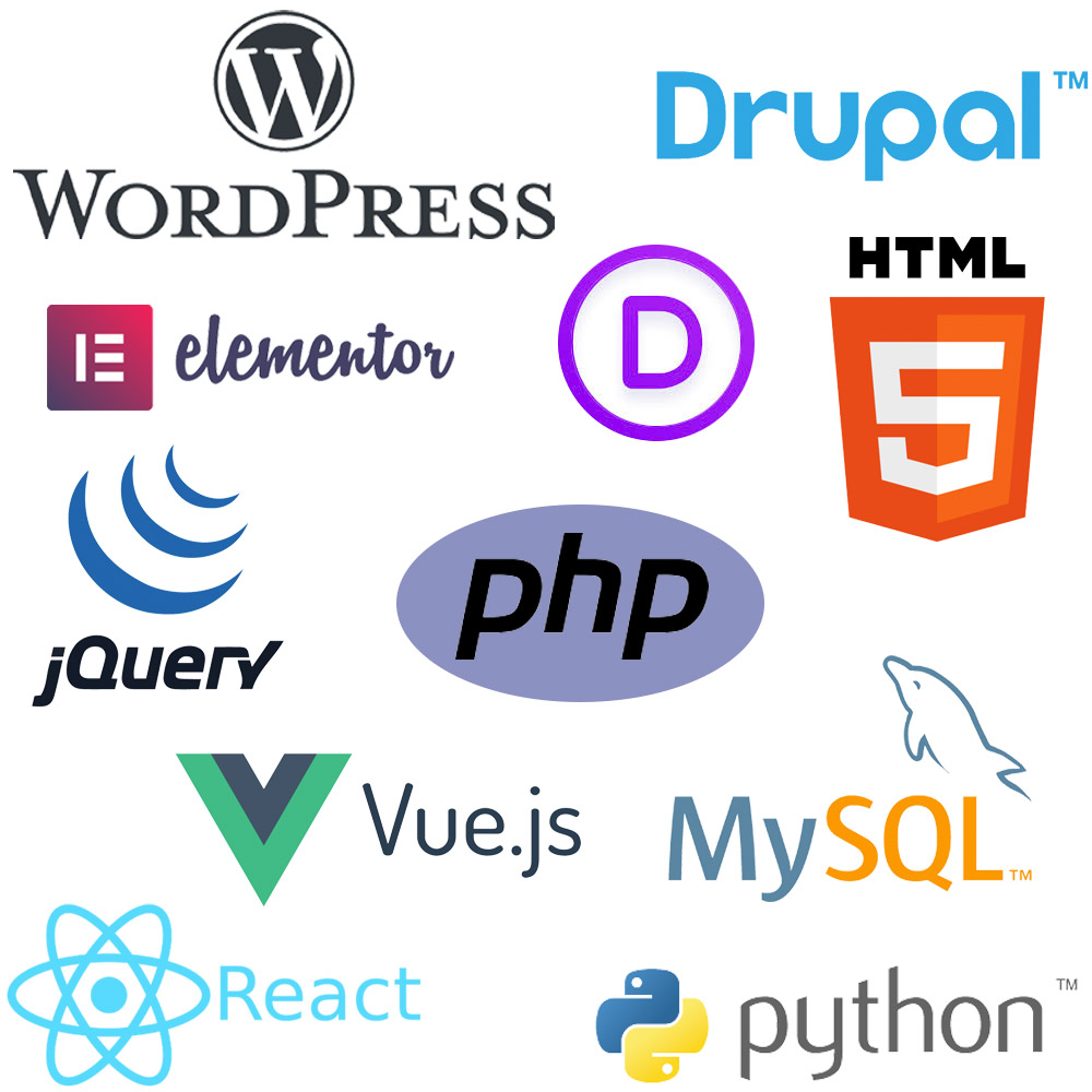 WordPress, Drupal, Elementor, Divi, HTML5